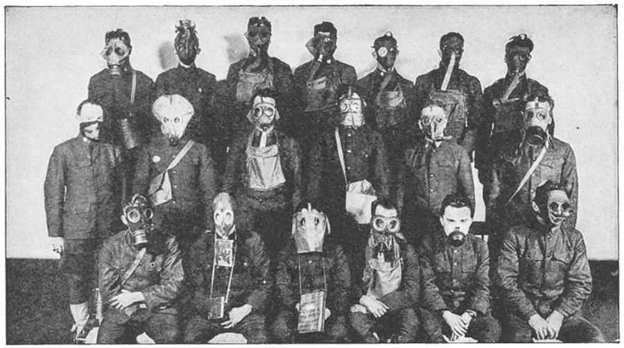 Different types of gas masks.