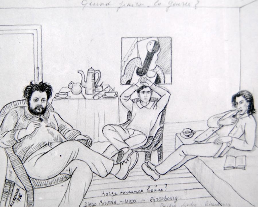"""Ривера, Модиљани и Еренбург на цртежoт на Маревна 1916. """"Кога ќе заврши војната?"""""""