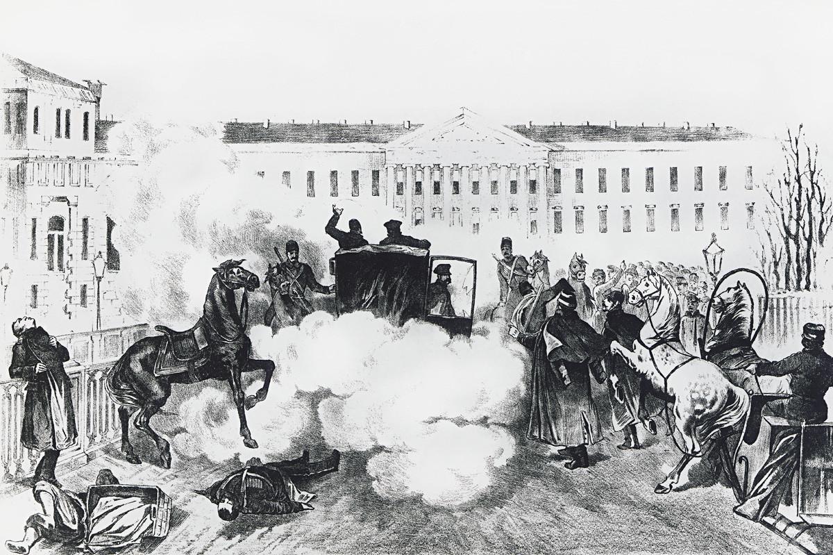 サンクトペテルブルグでのアレクサンドル2世の暗殺。1881年3月13日、ロシア帝国。