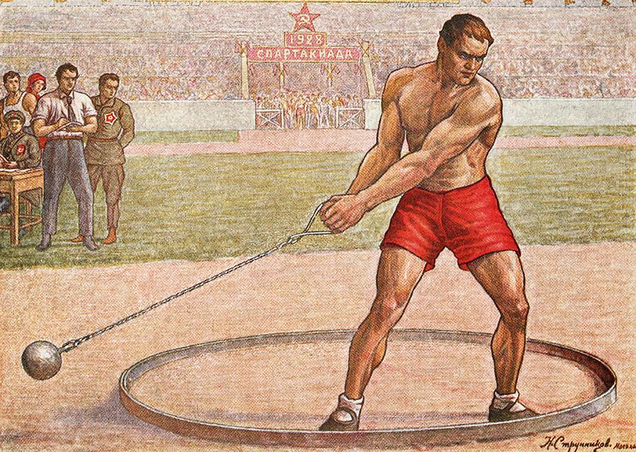 Kopie eines Gemäldes, das den Hammerwurf der Spartakiade 1928 zeigt