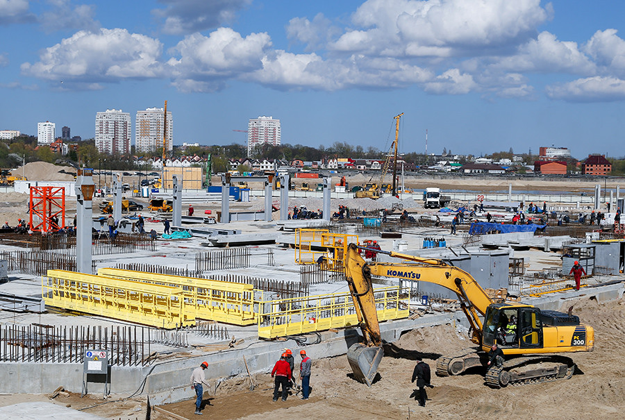 The construction site of Kaliningrad Stadium, a venue for 2018 FIFA World Cup matches, Oktyabrsky Island