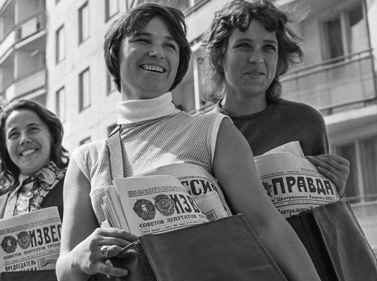 Trabajadoras Flera Mansúrova, Liudmila Kuznetsova y Valentina Ozheriélieva en Náberezhnie Chelní (1.100 km al este de Moscú), 1972.
