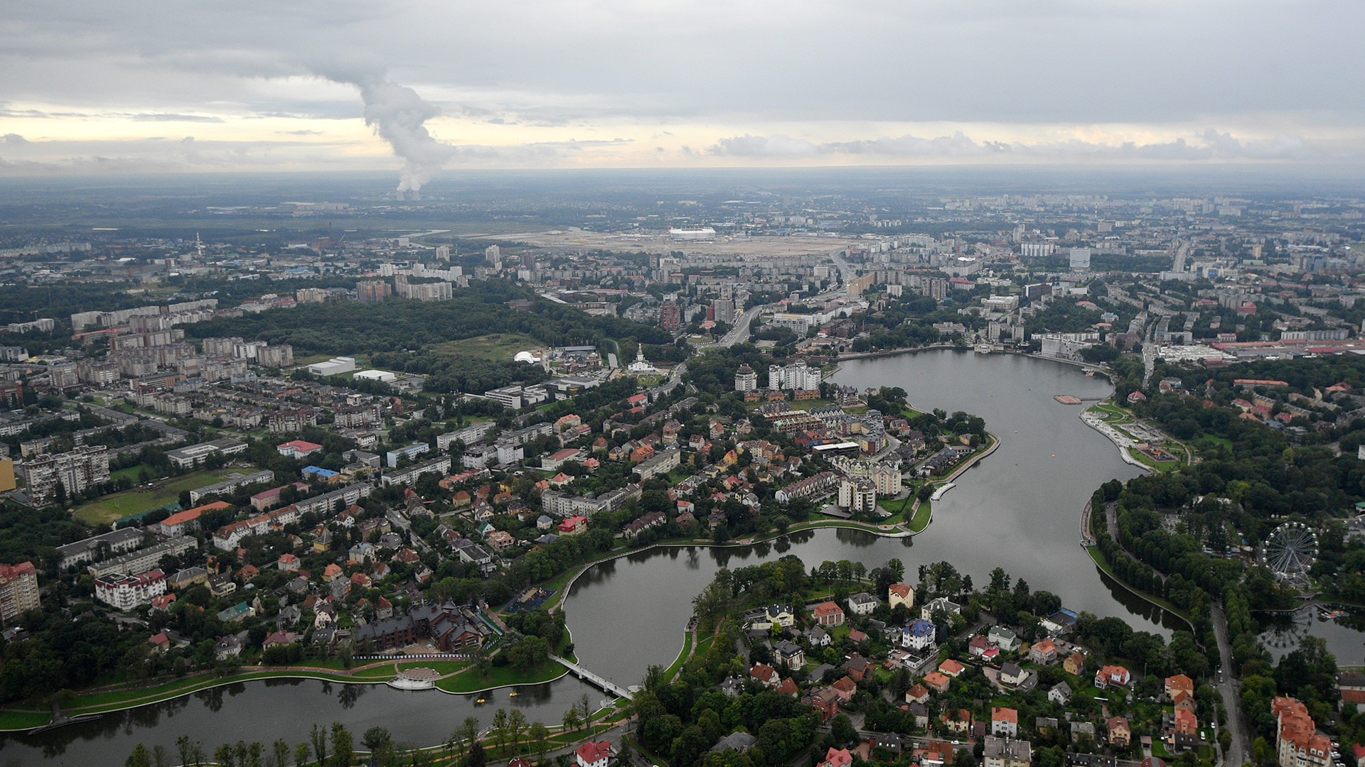 The panoramic view on Kaliningrad and Oktyabrsky island