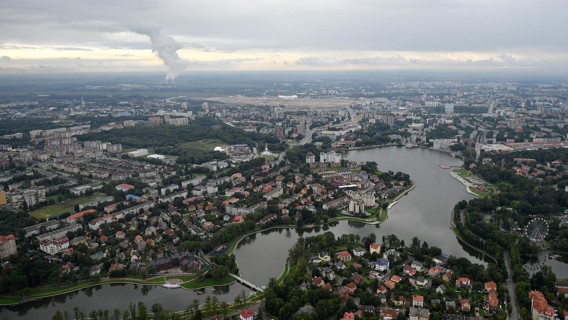 Vue sur l'île Oktiabrski, à Kaliningrad
