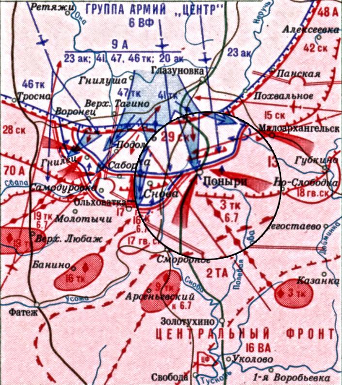 Карта операције око насељеног места Понири