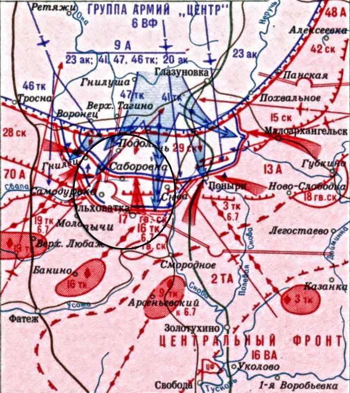Карта операције у рејону насељеног пункта Ољховатка
