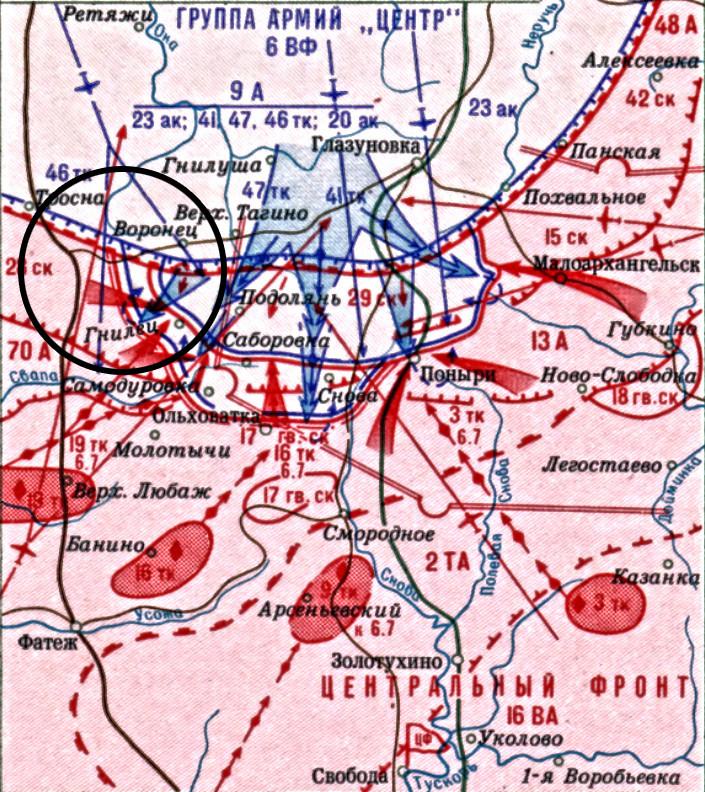 Карта операције на правцу Гњилец-Тепло