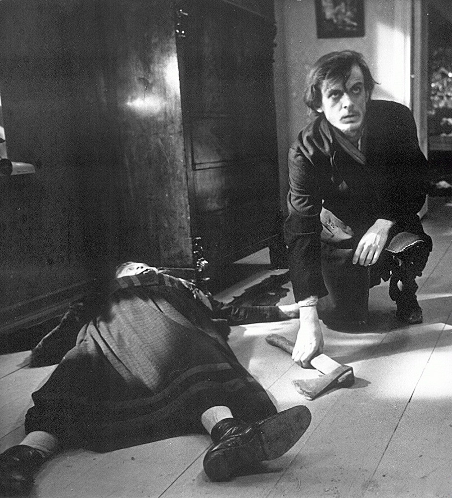 A scene from the Soviet ecranisation of Crime and Punishment (1969): Raskolnikov near the dead body of a woman he killed.