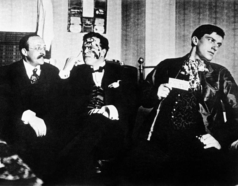 L-R: Andrei Shemshurin, David Burliuk, Vladimir Mayakovsky