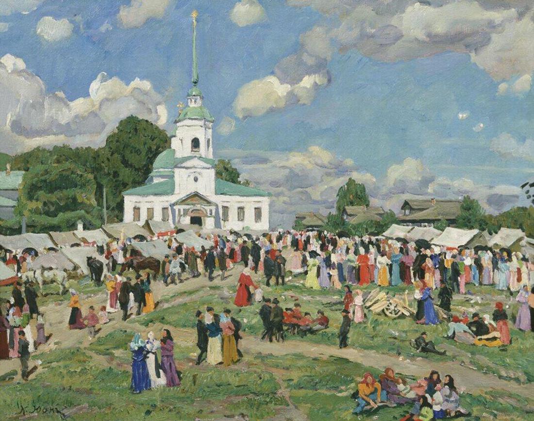 Celebração rural. Região de Tver, Konstantin Iuon, 1910