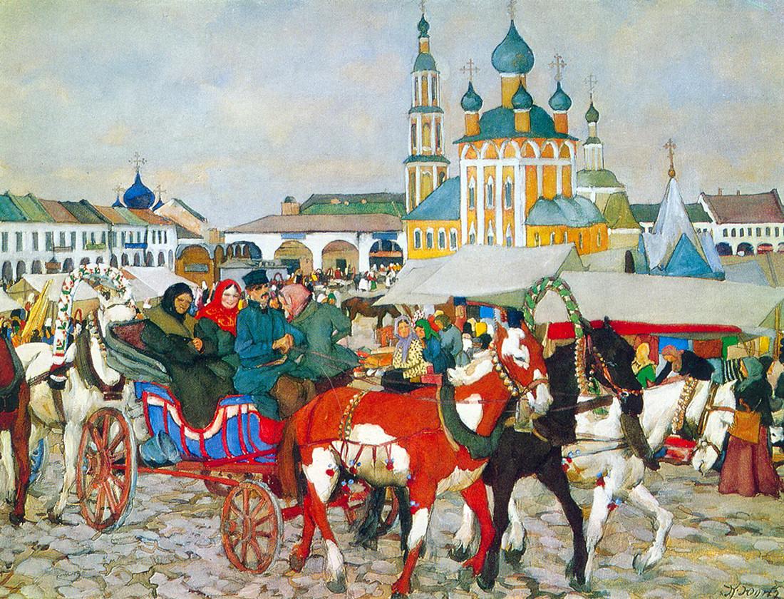 Troika puxada por cavalos em Uglitch, Konstantin Ioun, 1913