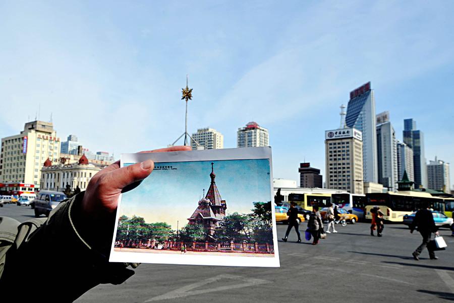 Uma comparação da foto antiga de uma igreja russa com seu atual endereço em Harbin, capital da província chinesa de Heilongjiang, no nordeste do país.