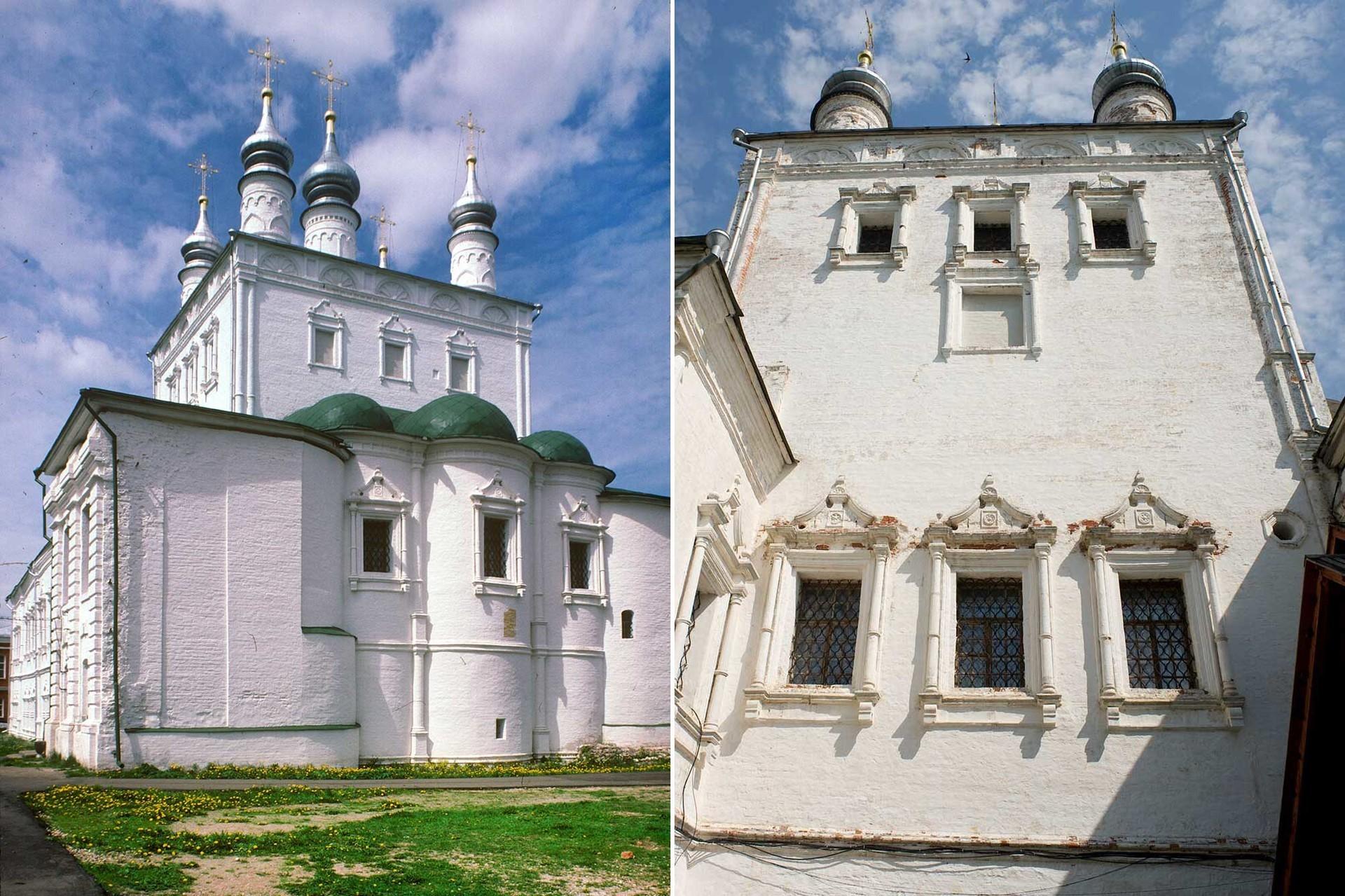 ゴリツキー生神女就寝修道院。 全聖人教会。東側の景観。 1995年6月28日。(左)  ゴリツキー生神女就寝修道院。 全聖人教会。南側正面。2012年7月12日。(右)