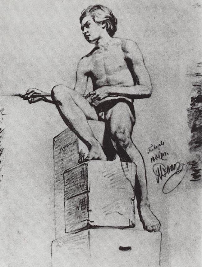 Iliá Repin, Modelo sentado, 1866