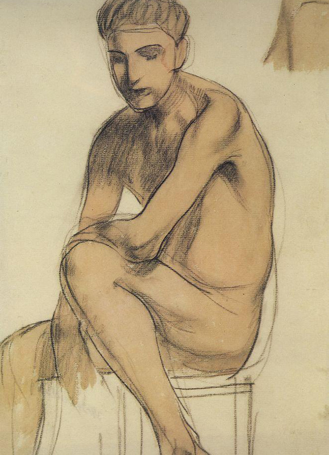 Kuzma Petrov-Vodkin, Garoto sentado, 1906