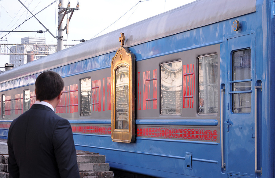 A train with a temple carriage arrives at Moscow's Kursky station from St Petersburg.
