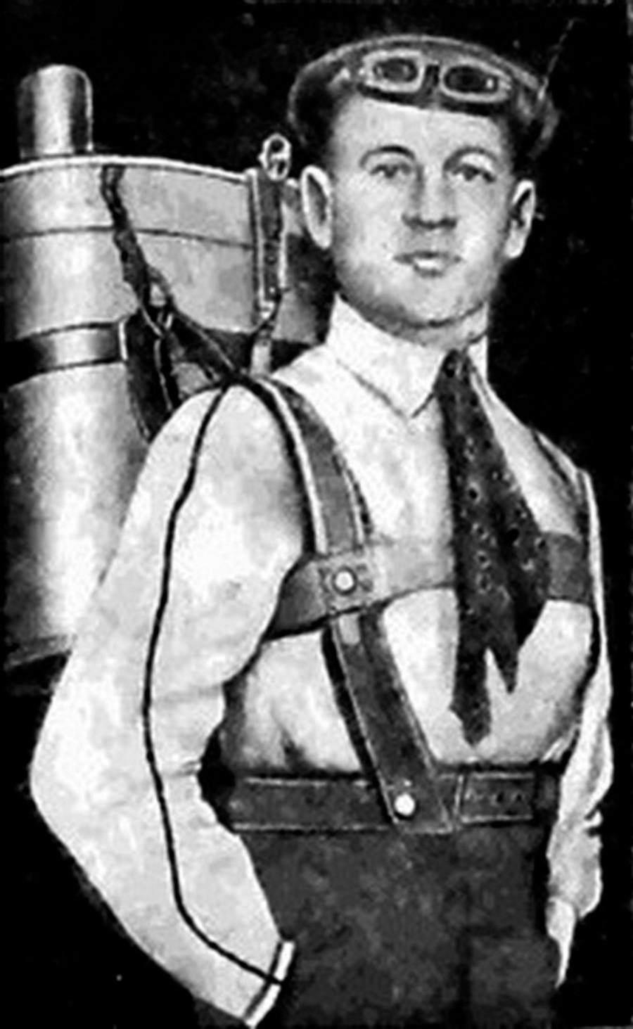 Глеб Котељников са падобраном на леђима.