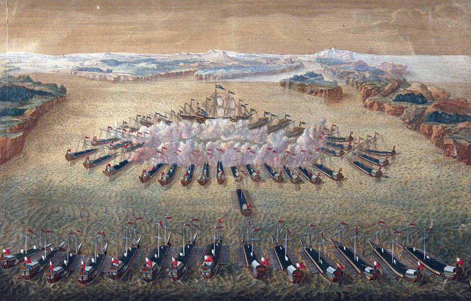 Na veliki jedkanici Mauricea Baquoia je upodobljena gangutska bitka