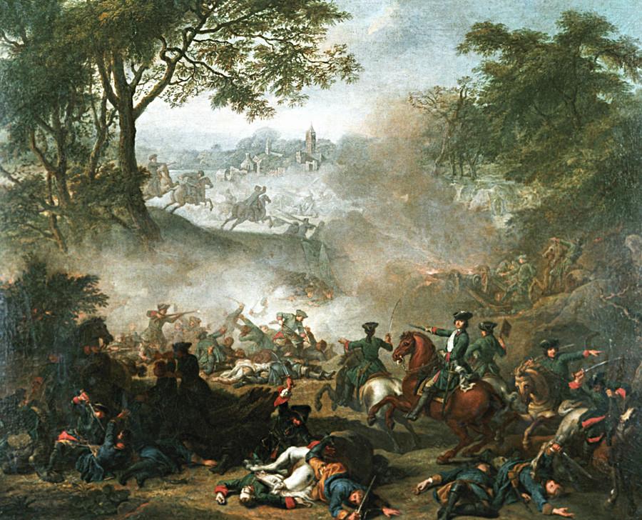 'Batalla de Lesnaia', obra de Jean-Marc Nattier, 1717.