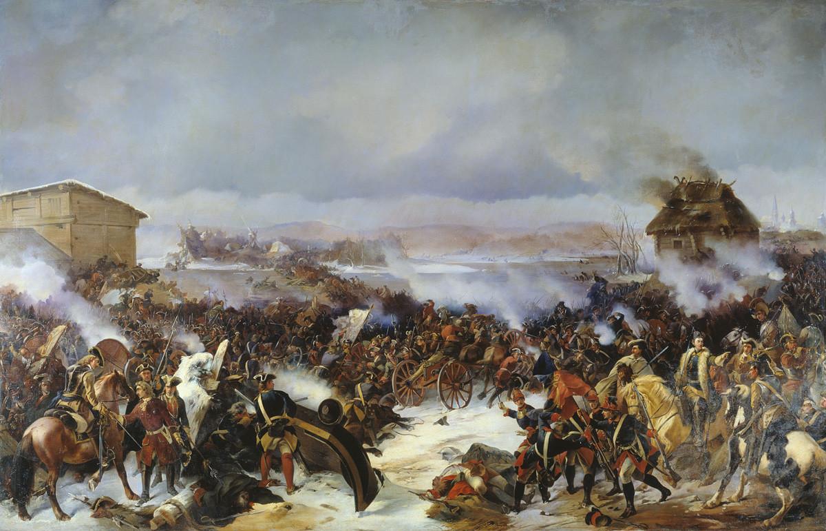 """Сликата на А. Е. Коцебуа """"Битка кај Нарва"""""""