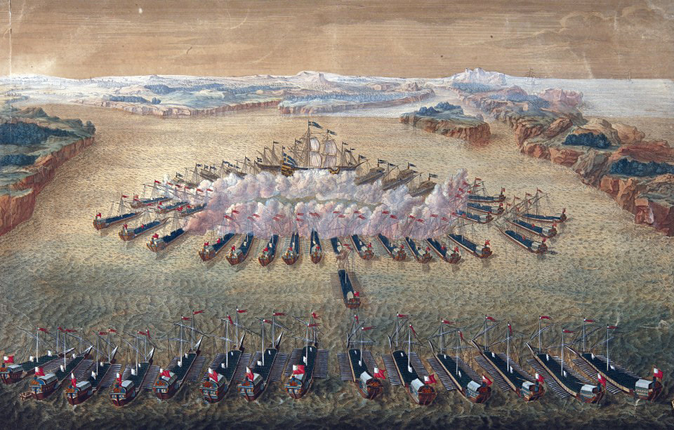 Голема гравира Битката кај Гангут, Маурицио Бакуи, 1724-1727.