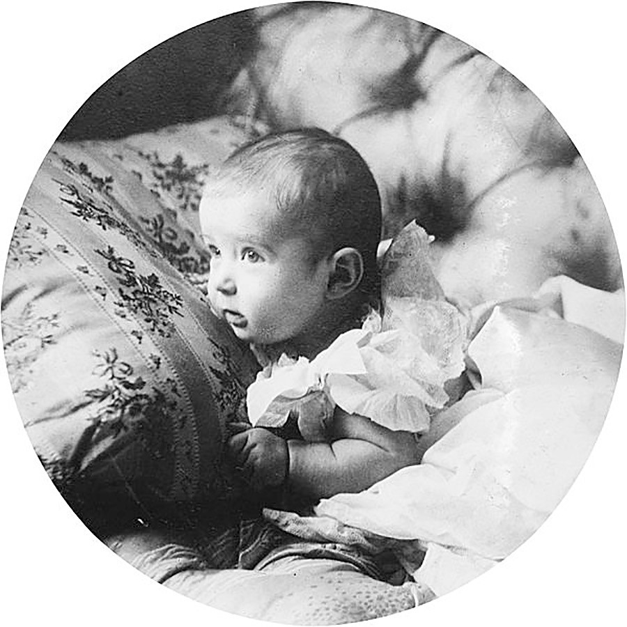 Alexei Nikolaevich in his baby age (in 1904).