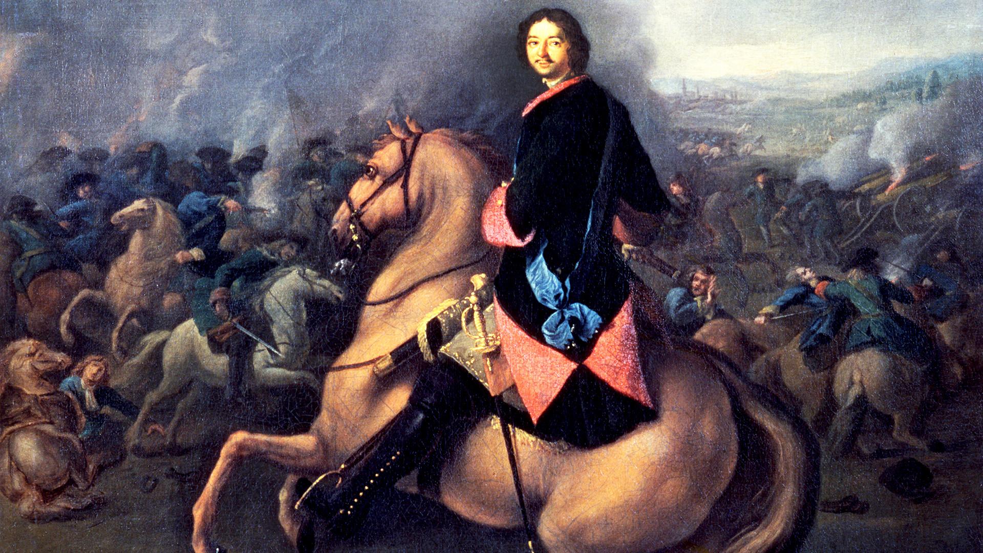 ポルタヴァの戦いでのピョートル1世。ヨハン・ゴットフリード・タンナウエル、1710年、キャンバス地に描いた油絵。国立ロシア美術館、サンクトペテルブルク。