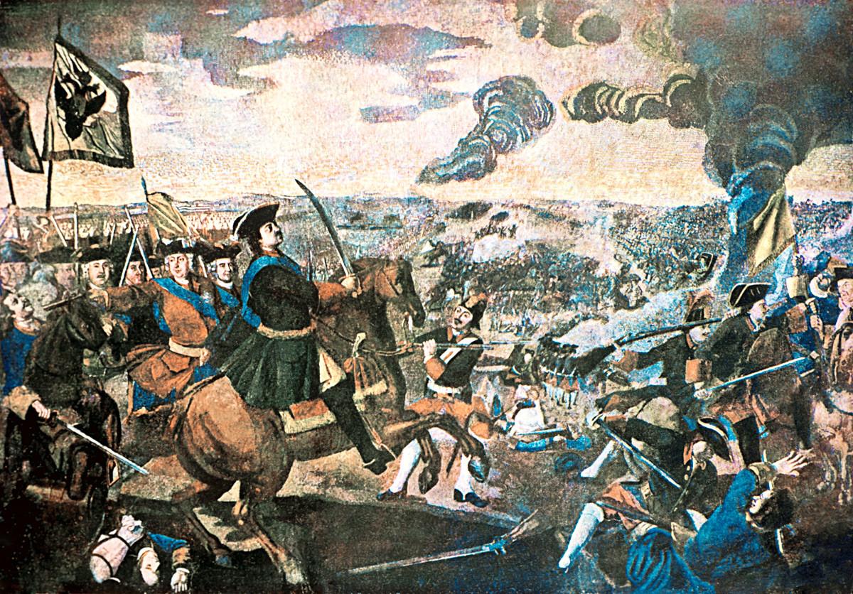 ロシア国立歴史博物館。ミハイル・ロモノーソフ作のモザイク「ポルタヴァの戦い(1700-1721年の大北方戦争)」