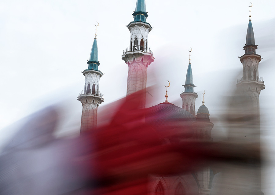 Masjid Kul Sharif di Republik Tatarstan, Rusia, selama Hari Raya Idul Adha.