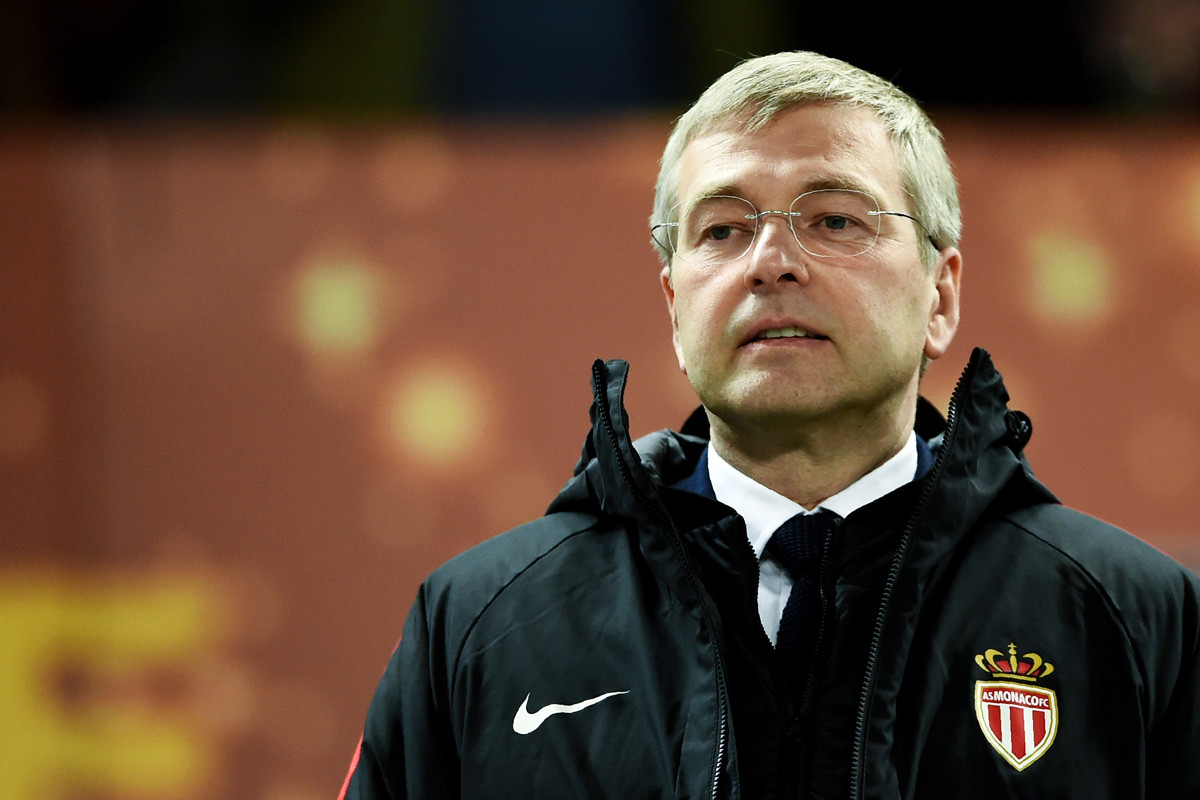 Monaco President Dmitry Rybolovlev looks on during the French League Cup final football match between Monaco and Paris Saint-Germain on March 31, 2018.