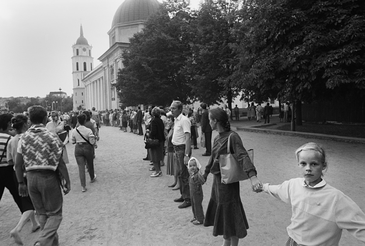 Vilnius, capital da Lituânia, no dia da demonstração.