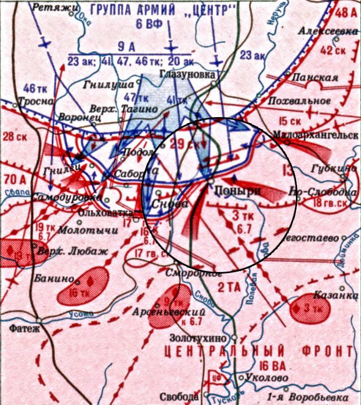 Zemljevid operacije okrog naselja Poniri