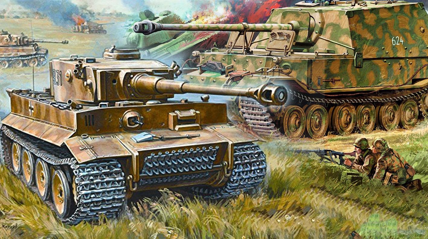 Udarna pest v napadu na Poniri: nemški težki tank Pz.Kpfw.VI Tiger in težki lovec na tanke Sd.Kfz.184 Ferdinand