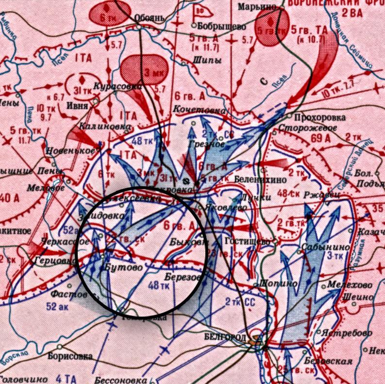 Zemljevid bojev 48. oklepnega korpusa 6. julija 1943