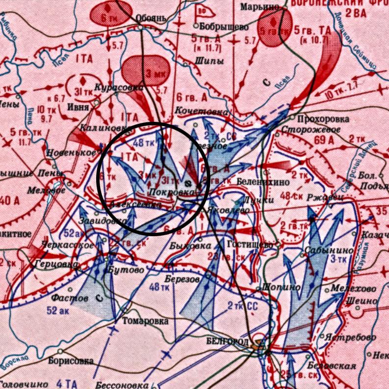 Zemljevid bojev 48. oklepnega korpusa 7. julija 1943
