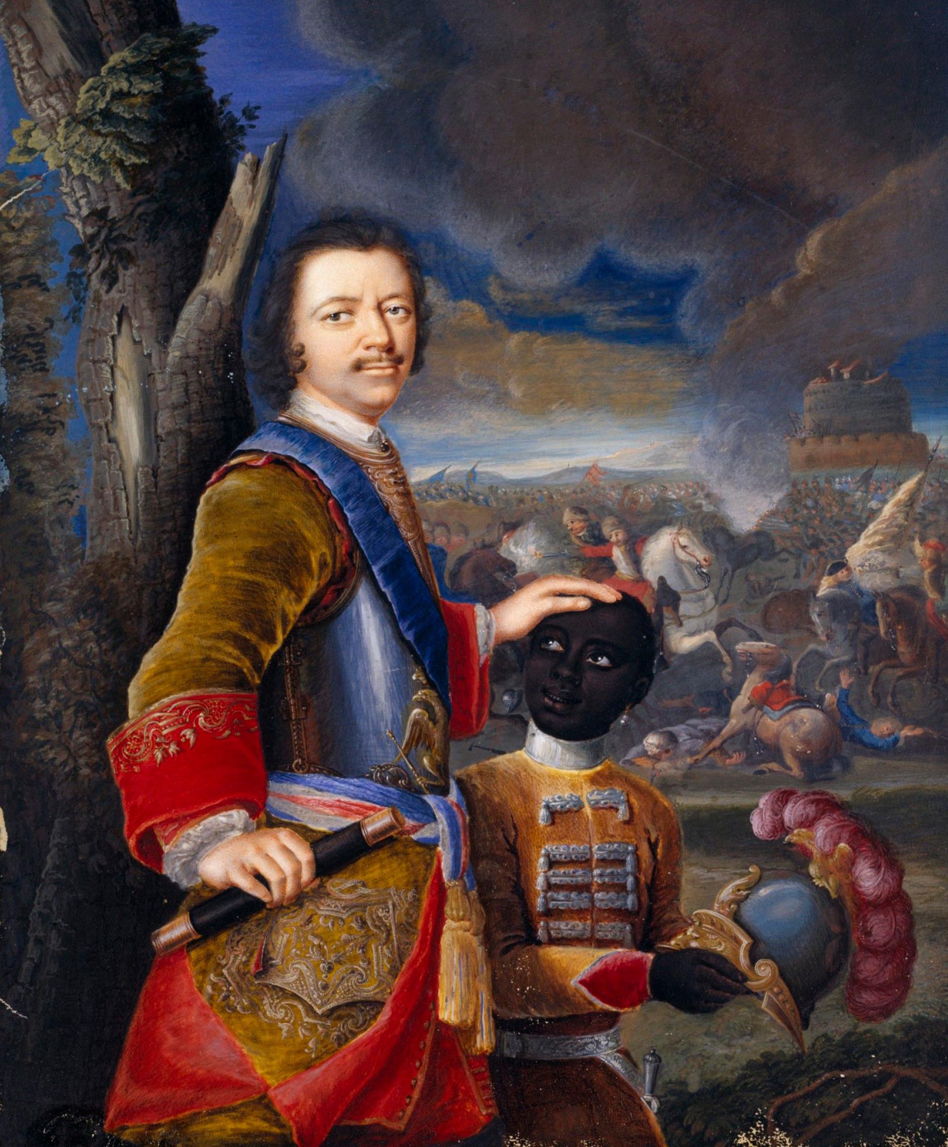 Porträt von Peter dem Großen mit einem schwarzen Kammerdiener