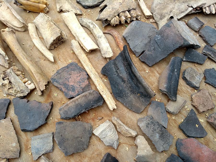 Pedaços de cerâmica e de madeira encontrados durante as escavações.