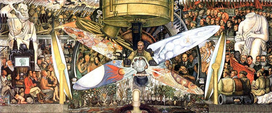 """""""Der Mensch kontrolliert das Universum"""" mit den Porträts von Leo Trotzki, Karl Marx und Friedrich Engels"""