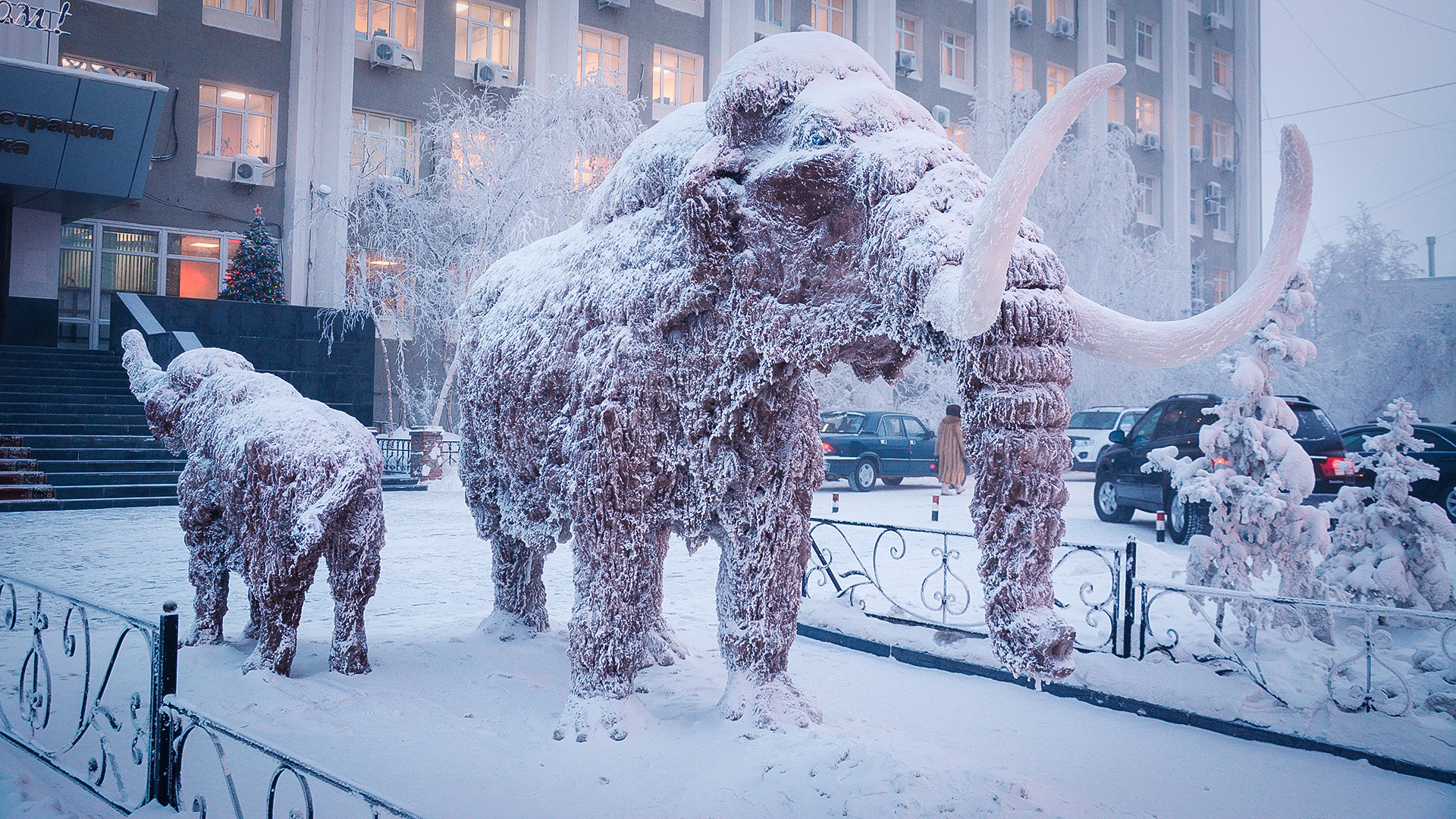A sculpture of mammoth outside the district administration building in Yakutsk. January 2018.
