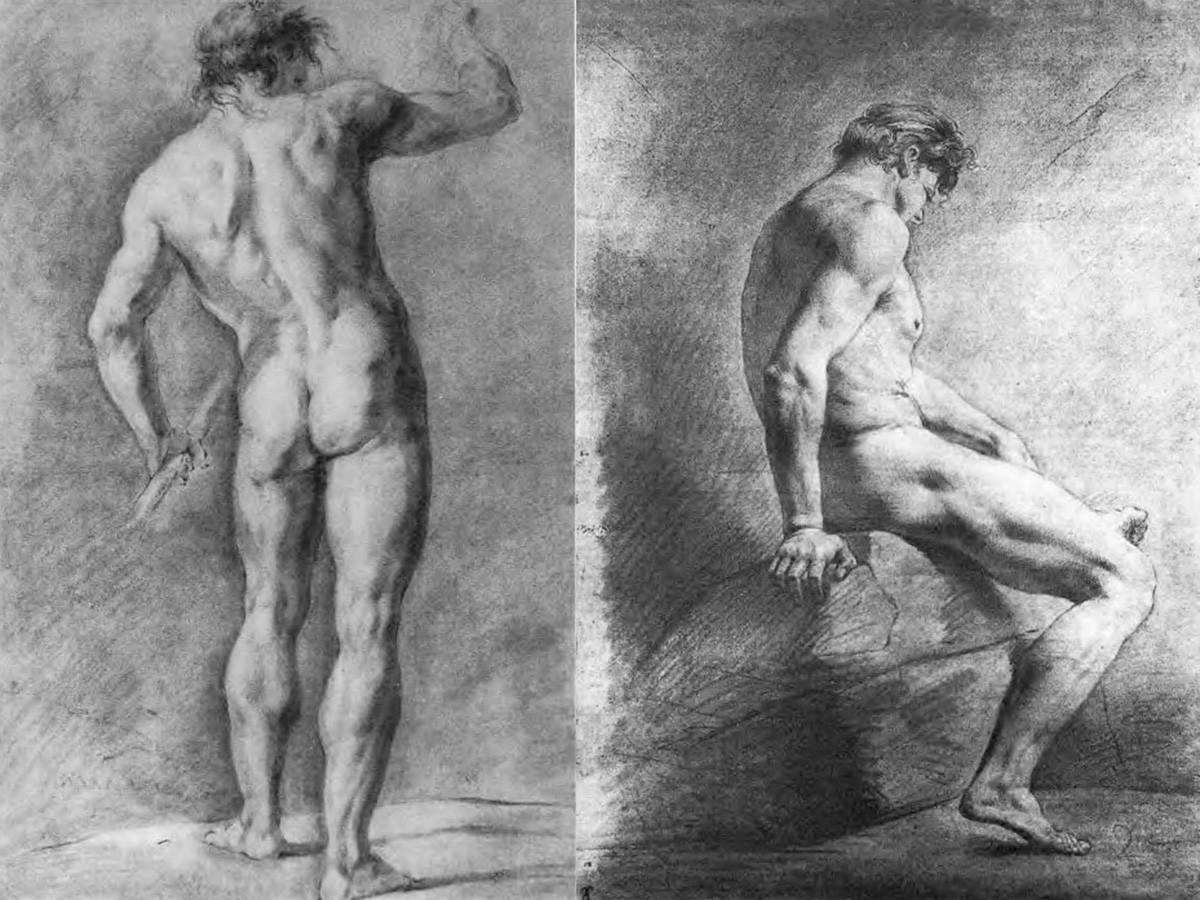 Posando pie con un palo; Posando sobre una roca, 1801.