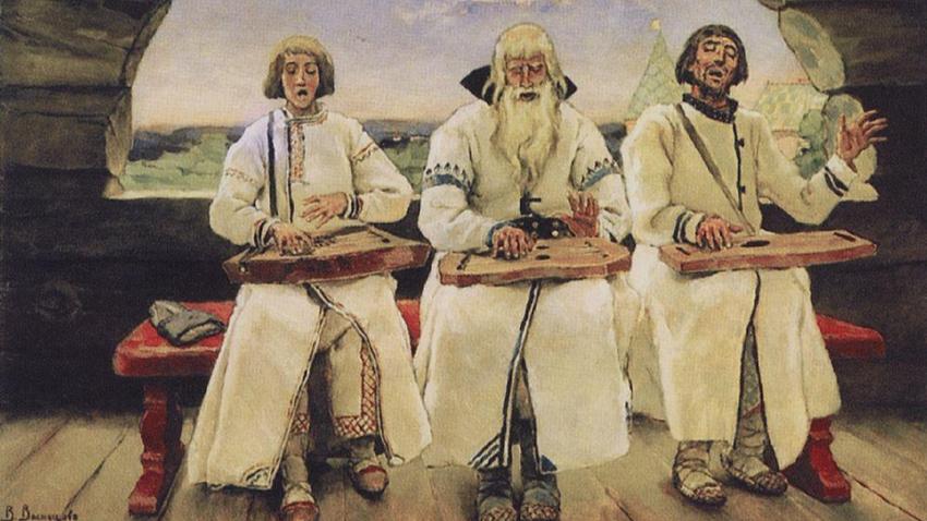 """""""Músicos tocando instrumento nacional russo chamado Gúsli"""", de Víktor Vasnetsov, 1899"""