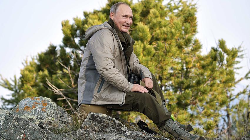 2018年8月26日。ロシアのウラジーミル・プーチン大統領がトゥワ共和国のサヤノ・シューシェンスキー自然保護区で休暇を過ごしている。