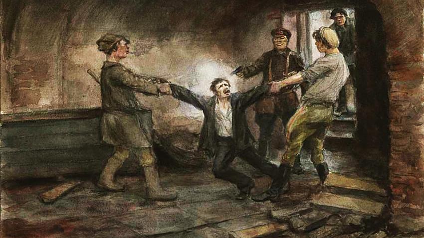 「ペトログラードのチェーカー(秘密警察)の地階にて(1918年)」。イワン・ウラジーミロフ作。