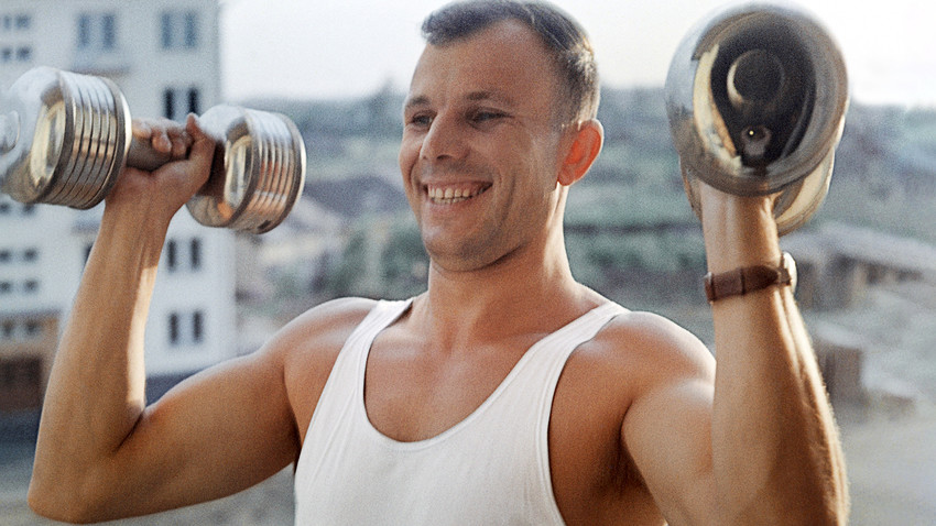 Pilot-cosmonaut Yuri Gagarin doing his morning exercises.