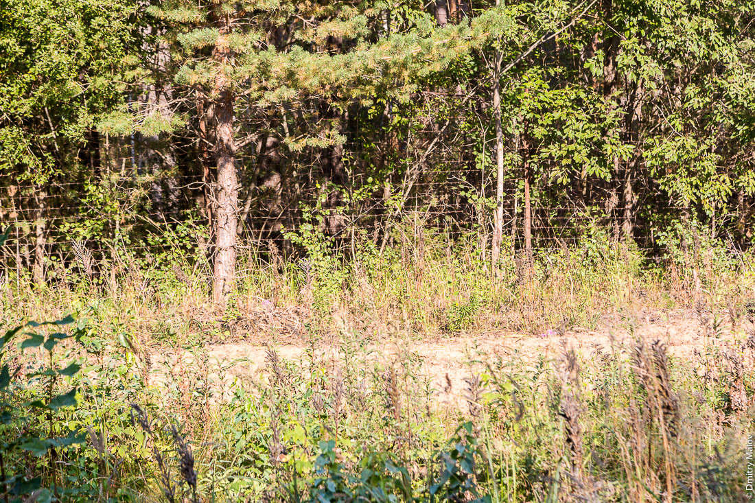 Right side of the road, closer to 'mainland' Russia, is marked by barbed wire