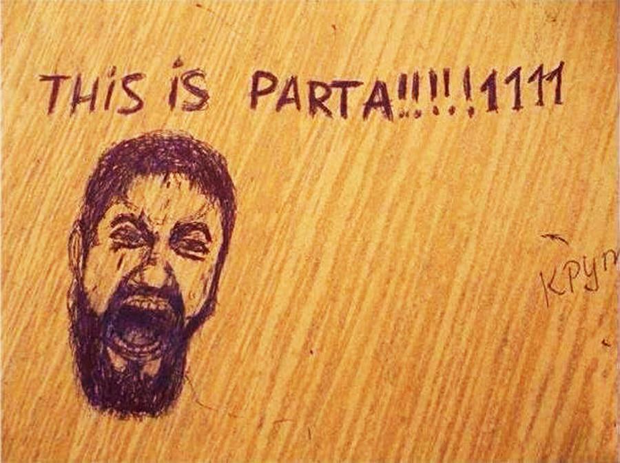 "Dalam bahasa Rusia, ""parta"" berarti meja sekolah."