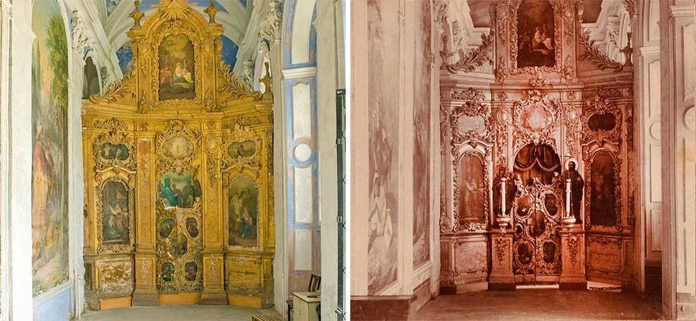A la derecha: catedral de la Dormición. Capilla Sur (Anunciación), vista hacia la pantalla de iconos, 1911. A la izquierda: catedral de la Dormición en 2012.