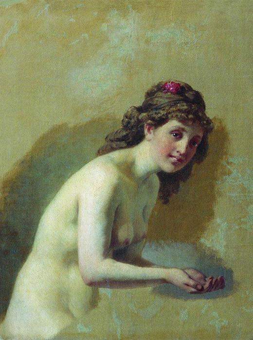 La mujer desnuda bañándose, segunda mitad del siglo XIX.