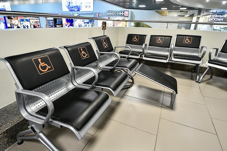 Ruang tunggu di bandara Pulkovo, Sankt Peterburg.
