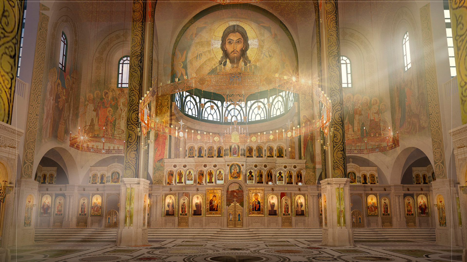 Bagian dalam gereja berdasarkan cetak birunya.